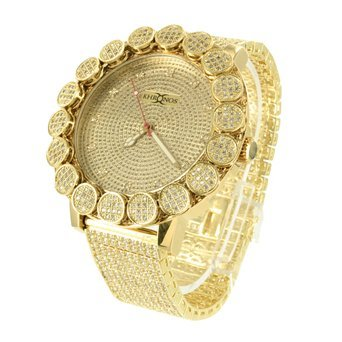 Herren Khronos Diamant Armbanduhr gross Luenette Iced Tablett Band Lab Diamant Gold Ton New