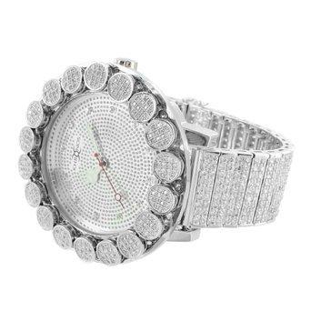 Khronos Echter Diamant Armbanduhr Iced Tablett Band Blume 1 Row Luenette Herren individuellen Style