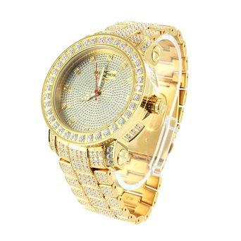Khronos Aqua Master vollstaendig Iced Out Gold Finish Herren Echten Diamanten Classy Armbanduhr
