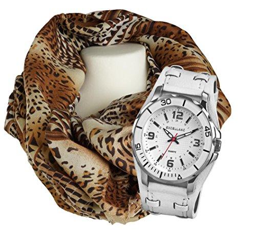 Geschenk Set Exclusive Quarz Uhr mit grossem Gehaeuse Armbanduhr im Set mit grossem Leoprint Tuch