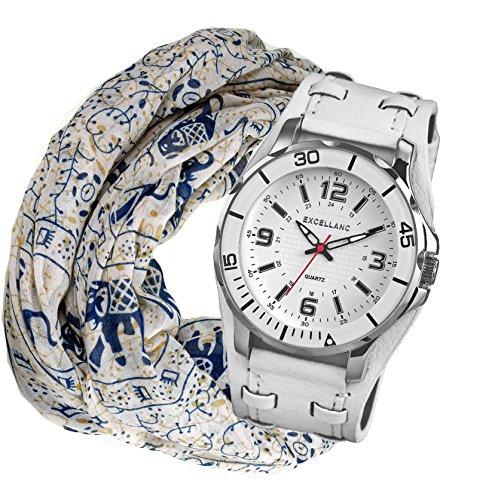 Geschenk Set Schal Elefanten Design modische Exclusive Quarz Uhr mit grossem Gehaeuse