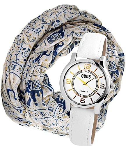 Modische Gold Silber Armbanduhr im Set mit Damenschal Halstuch in Elefanten Design