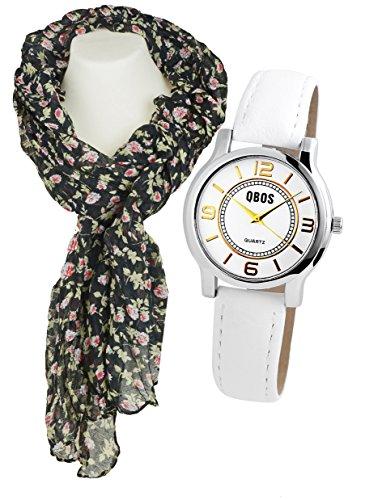 Modische Gold Silber Armbanduhr im Set mit gekraeuseltem Blumenschal
