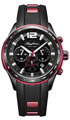 RHYTHM Solar Earth Saver Chrono Armbanduhr Schwarz Rot R ES1401R01
