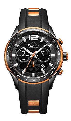 RHYTHM Solar Earth Saver Chrono Armbanduhr Schwarz Orange R ES1401R04