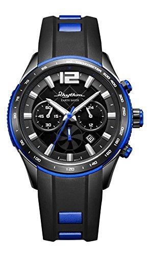 RHYTHM Solar Earth Saver Chrono Armbanduhr Schwarz Blau R ES1401R02