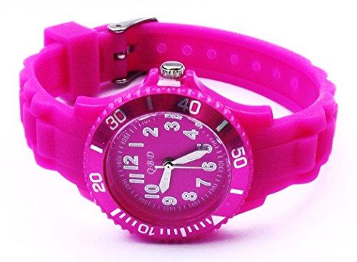 Maedchen Jungen Reflex Silikon Gummi Strap Armbanduhr violett Groesse Kinder QBD
