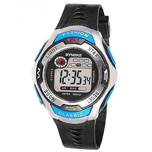 QBD Kinder Sport Armbanduhr 164 Fuesse Wasserdicht LED fuer Jungen blau