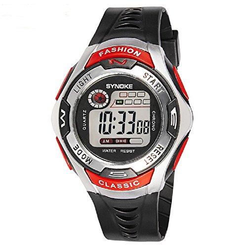 QBD Swim Armbanduhr Jungen Maedchen Sport mit Alarm Stoppuhr chronograph 50 m Wasser Proof Armbanduhr Rot