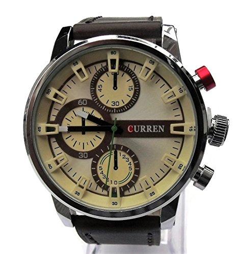 QBD Herren Leder Armbanduhr UEbergrosse Grosse und geschoben Wasserabweisend weiss