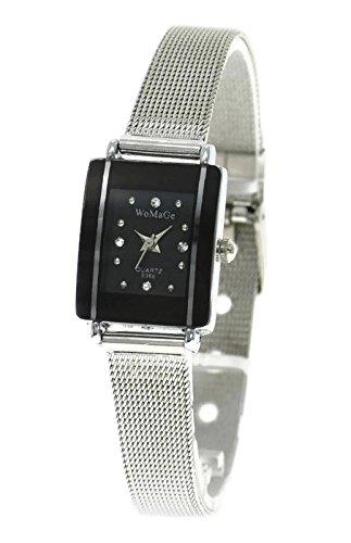 QBD Damen Girl s Umwerfend Luxus Kristall Stahl Strap Watch schwarz Mesh