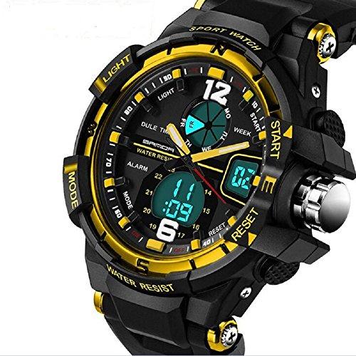 QBD digital analog Jungen Maedchen Sport mit Alarm Stoppuhr Chronograph 50 m Wasser Proof GRATIS Luxus Geschenk Box G Gold