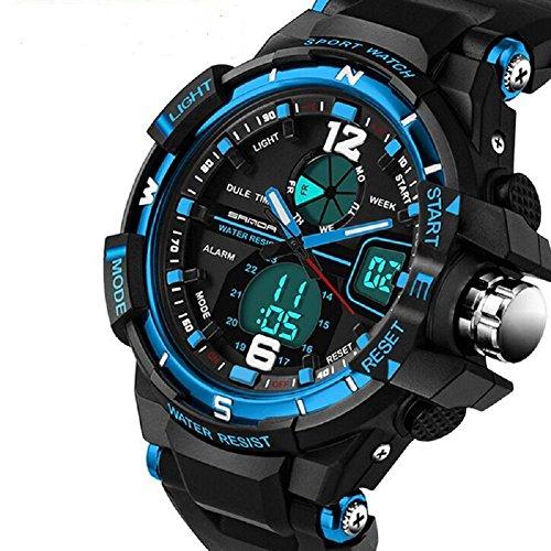 QBD digital analog Jungen Maedchen Sport mit Alarm Stoppuhr Chronograph 50 m Wasser Proof GRATIS Luxus Geschenk Box G blau
