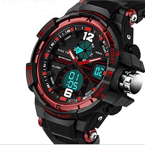 QBD digital analog Jungen Maedchen Sport Digital Armbanduhr mit Alarm Stoppuhr Chronograph 50 m Wasser Proof GRATIS Luxus Geschenk Box G rot