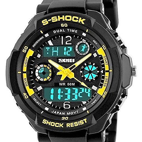 QBD Jungen Maedchen digital analog Digitale Sport Armbanduhr mit Alarm Stoppuhr Chronograph 50 m Wasser Proof SH gelb