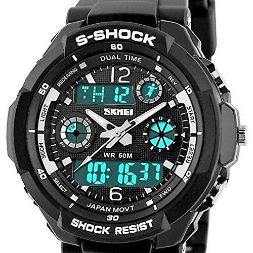 QBD Jungen Maedchen digital analog Digitale Sport Armbanduhr mit Alarm Stoppuhr Chronograph 50 m Wasser Proof SH schwarz