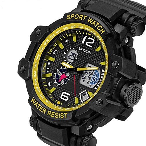 QBD digital analog Gents Oversize geschoben Digitale Sport Armbanduhr mit Alarm Stoppuhr Chronograph 50 m Wasserdicht Kostenlose Luxus Geschenk Box S Gelb