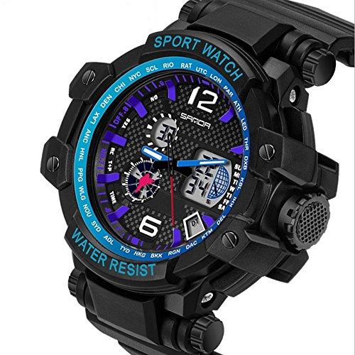 QBD digital analog Gents geschoben Oversize Digitale Sport Armbanduhr mit Alarm Stoppuhr Chronograph 50 m Wasserdicht Kostenlose Luxus Geschenk Box S Blau