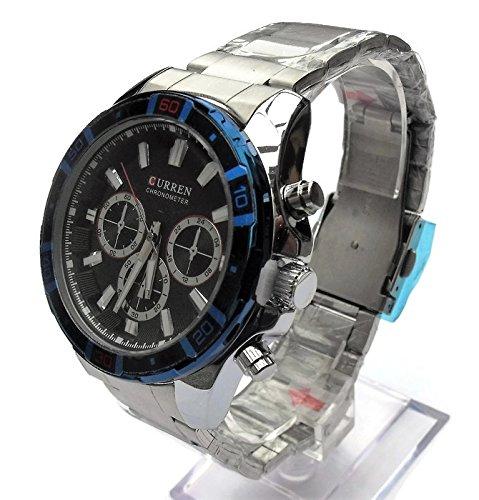 QBD Edelstahl Herren Armbanduhr UEbergrosse Grosse und geschoben Wasserabweisend schwarz