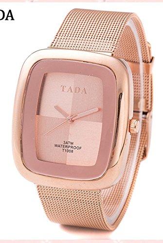 QBD Damen Geschenkbox Luxus 3 ATM Wasserdicht Japanisches Quarz Uhrwerk Mesh Steel Strap Rose Gold Watch