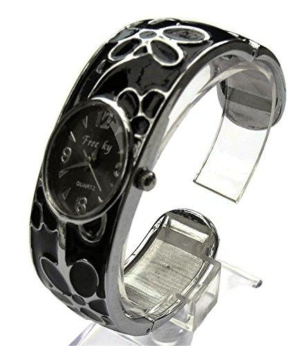 QBD Damen Geschnitzt Farbe Armband Mode Uhr Beauty Kleid Uhr Einzigartiges Design Schwarz