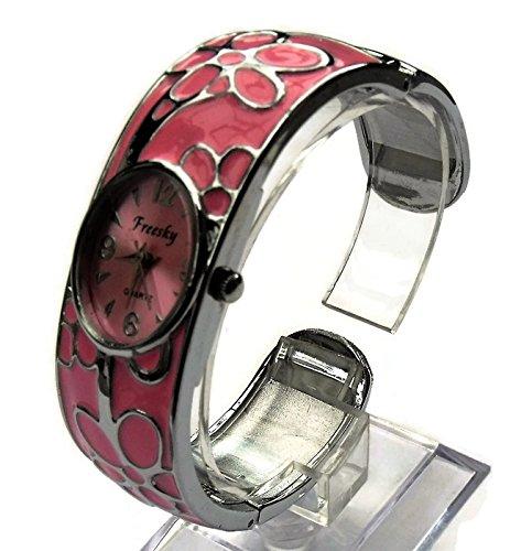 QBD Damen Geschnitzt Farbe Armband Mode Uhr Beauty Kleid Uhr Einzigartiges Design Pink