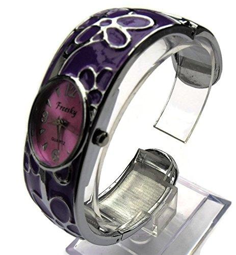 QBD Damen Geschnitzt Farbe Armband Mode Uhr Beauty Kleid Uhr Einzigartiges Design Violett