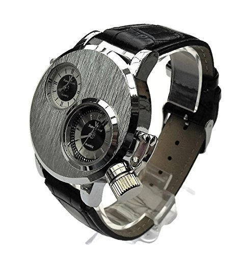 QBD Gross DUAL TIME zones Big 5 cm Zifferblatt Lange 18 24 cm strap Silber Face Leder
