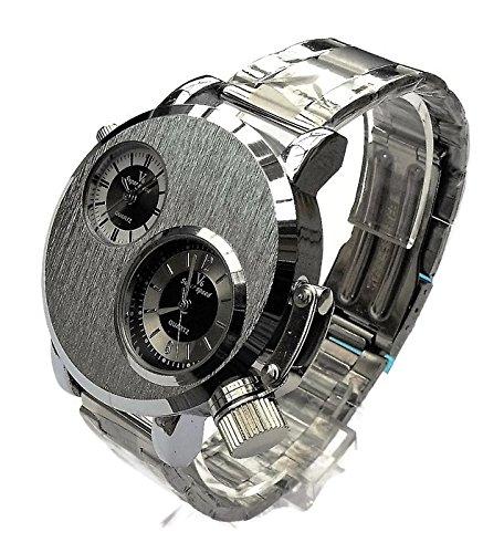 QBD Gross DUAL TIME zones Big 5 cm Zifferblatt Lange 18 24 cm strap Silber Face Metall