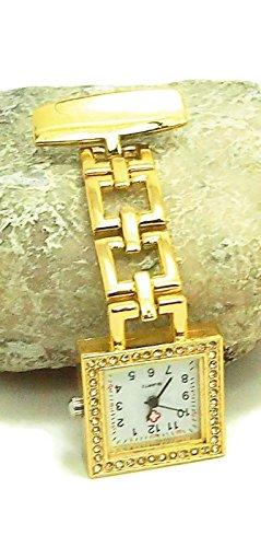 QBD Classic Kristall Rot Kreuz Krankenschwestern Armbanduhr Krankenhaus Arzt Paramedic Tunika Brosche Taschenuhr quadratisch gold