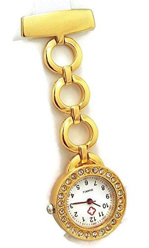 QBD Classic Kristall Rot Kreuz Krankenschwestern Armbanduhr Krankenhaus Arzt Paramedic Tunika Brosche Taschenuhr rund gold