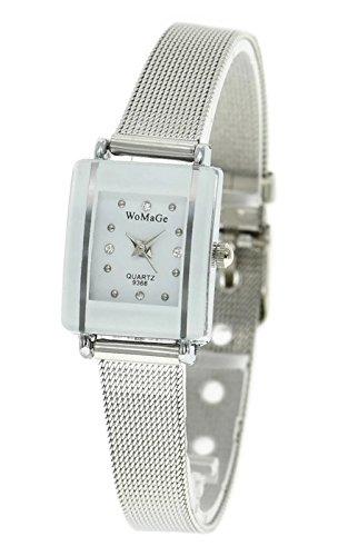 QBD Damen Maedchen Umwerfend Luxus Kristall Stahl Armbanduhr Silber Mesh