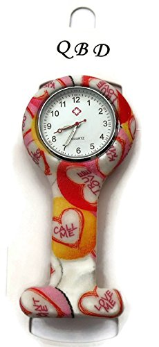 QBD Clip series nurses Glowing Haende rot Kreuz gemustert Silikon Gummi Taschenuhr Love 03