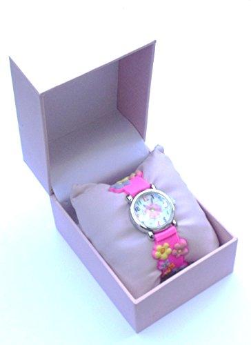 QBD Schachtel fuer Armbanduhr Pinkfarbenes Kunstleder Kissen Federscharnier Armbanduhr Aufbewahrungsbox Geschenk Box Geschenkbox