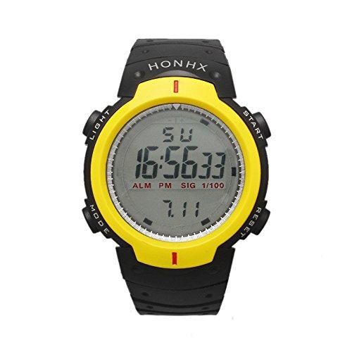 QBD LCD Digital wasserabweisend Sport Boy s mit schwarzem Zifferblatt Digital Display und Kunststoff Gurt gelb