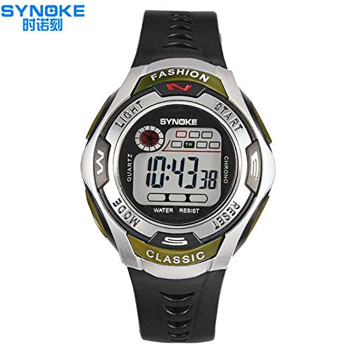 QBD Youth Wasserdicht Armbanduhr Digital Sport Armbanduhr mit Alarm Stoppuhr fuer Kinder Maedchen Jungen Stoppuhr Gruen