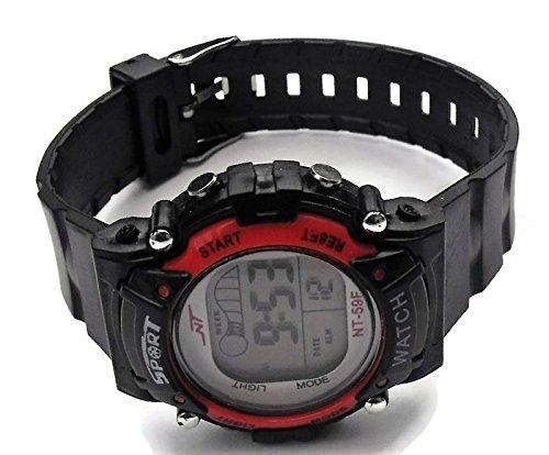 QBD Maedchen Damen Unisex Super Wert Wasserdicht Multi Funktion LED Digital Stoppuhr Alarm Hintergrundbeleuchtung Sport Armbanduhr v red