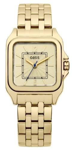 Oasis Damen-Armbanduhr Analog Edelstahl beschichtet gold B1279