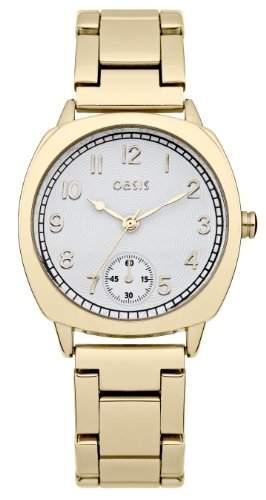 Oasis Damen Quarzuhr mit weissem Zifferblatt Analog-Anzeige und Gold Andere Armband B1360