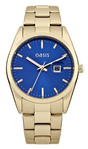 Oasis Damen Quarzuhr mit Blau Zifferblatt Analog Display und Gold Andere Armband b1368