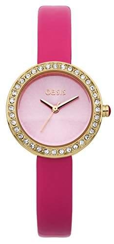 Oasis Damen Quarzuhr mit Rosa Zifferblatt Analog-Anzeige und Pink PU Strap B1454