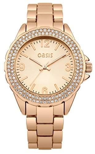Oasis Damen Quarzuhr mit Rose Gold Zifferblatt Analog-Anzeige und Rose Gold Armband b1495