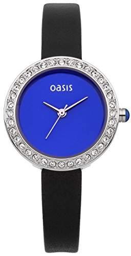 Oasis WomenHerren Quarzuhr mit blauem Zifferblatt Analog-Anzeige und schwarzem Lederarmband B1521