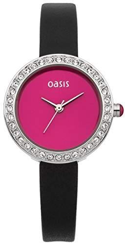 Oasis Womens Watch Pink Dial Analog-Anzeige und schwarzem Lederarmband B1522
