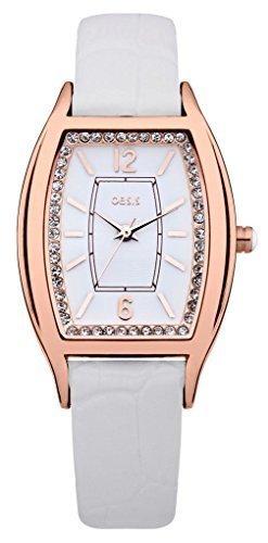 Oasis B1349 Rosegold Farbe Gehaeuse Mit Weisses Leder Armband Uhr