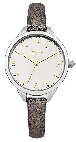Oasis Damen Armbanduhr Analog Quarzuhrwerk silberfarbenes Zifferblatt Display und Gold Lederband b1476