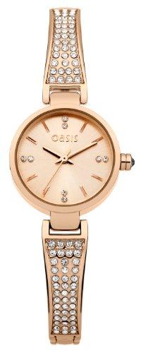 Oasis Damen Quarzuhr mit Rose Gold Zifferblatt Analog Anzeige und Rose Gold Armreif B1400