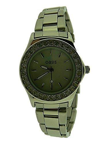 Damen Oasis Uhr B621 in Edelstahl Armband mit Silberfarben ziffernblatt und strass steine around rand