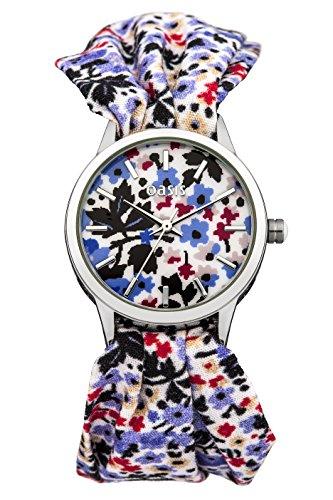 Oasis Damen Quarzuhr mit Flower Print Zifferblatt und Tuch Armband B1383