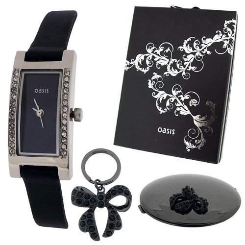OASIS B634 Geschenkset mit analoger Uhr, Spiegel und Schleifen-Schluesselanhaenger